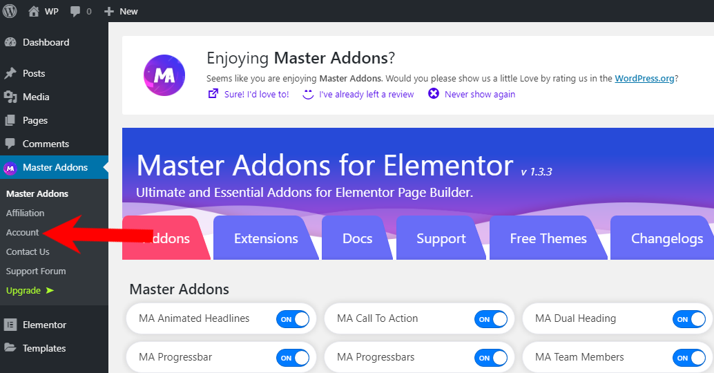 Master Addons For Elementor Admin Panel