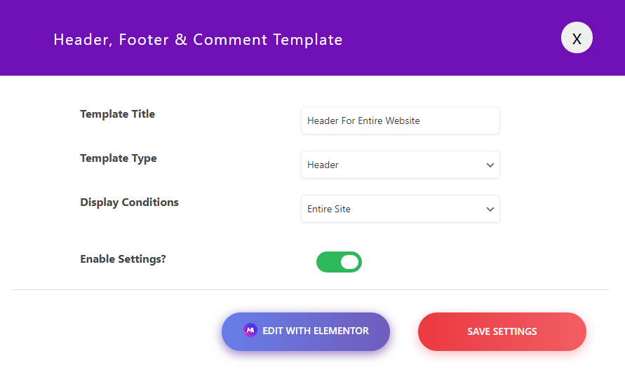 Creating Header Template