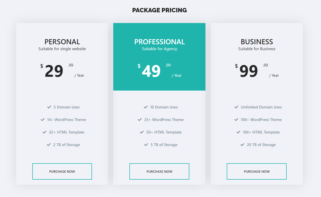 Pricing Table for Elementor one page website