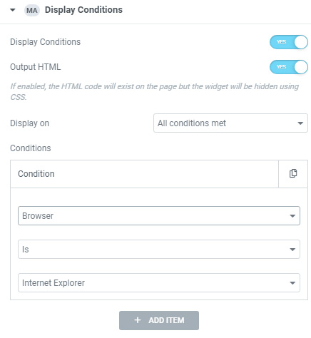Display Conditions Extension for Element