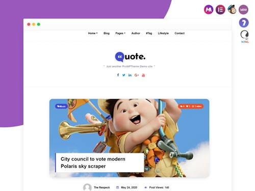 Quote Blogging Theme for Elementor