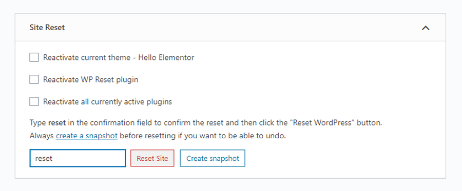Wp Reset Option from Tools