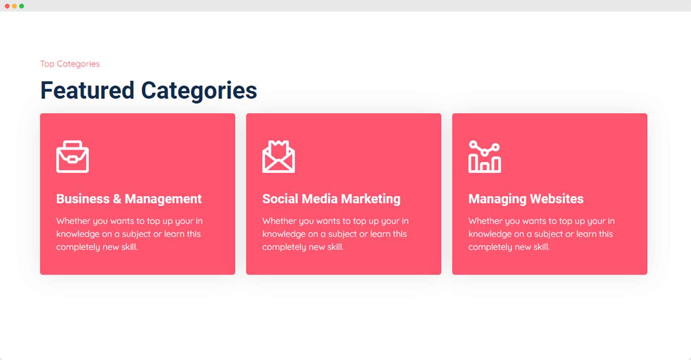 feature categories section